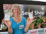 Janet Wright with some cheekily named seeds