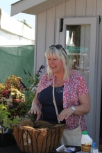 Vicky Fox demonstrating how to plant up a basket with Heuchera