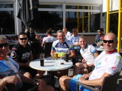 Five of the Bigfoot Cycling Club take a break