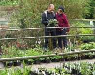 Members admiring plants at Stillingfleet